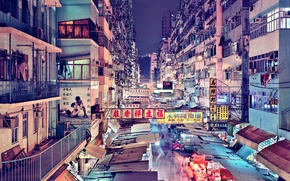 Обои даунтаун, Гонконг, магазины, квартиры, люди, неон, рестораны, Китай, быт, еда