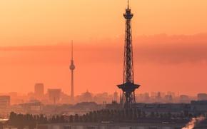 Картинка Germany, sunset, Berlin, towers, Fernsehturm