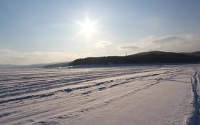 Картинка Горы, Снег, Лед, Енисей