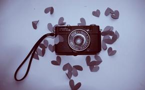 Обои настроение, сердце, фотоаппарат, сердечки, love, вид сверху