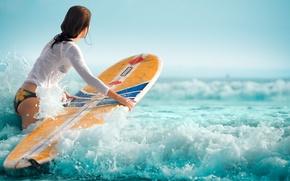 Картинка waves, girl, surfboard
