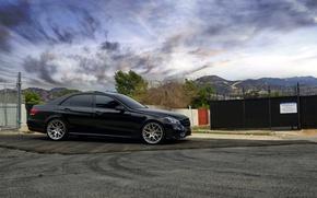 Картинка Mercedes-Benz, wheels, black, мерседес, E350, чеоный