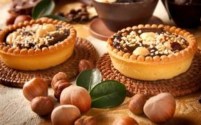 Картинка шоколад, сладости, орехи, десерт, пирожные, лесные, тарталетки