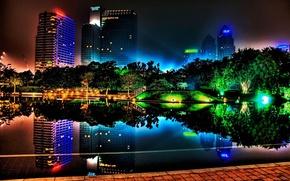 Картинка цвета, ночь, город