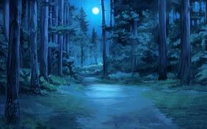 Картинка лес, ночь, everlasting summer, бесконечное лето, iichan-eroge