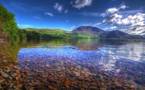 Картинка прозрачность, горы, озеро, камни