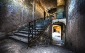 Картинка дом, HDR, лестница, старый, Stairs