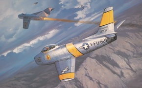 Картинка war, art, painting, aviation, F-86 Sabre, korea war, Mig-15