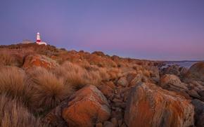 Картинка берег, маяк, вечер, валуны
