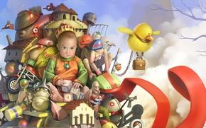 Картинка птицы, игрушки, мальчик, чудики, ребёнок, Corrado Vanelli