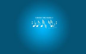 Обои ноты, музыка, фон, голубой, enjoy the music