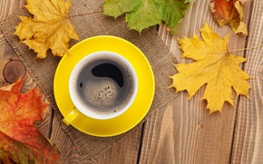 Картинка осень, кофе, чашка, клён, autumn, leaves, cup, coffee, fall, осенние листья, maple