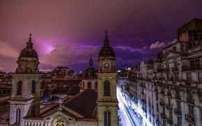 Картинка гроза, небо, ночь, тучи, город, молния, архитектура, Аргентина, фиолетовое, столица, Буэнос-Айрес