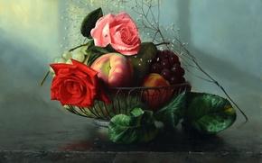 Картинка розы, картина, фрукты, алексей антонов