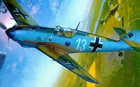 Картинка рисунок, арт, Messerschmitt, Hurricane, люфтваффе, Emil, Hawker, британский одноместный истребитель, одномоторный поршневой истребитель-низкоплан, Bf-109E-3, Heinz …