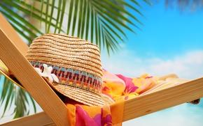 Картинка шляпа, пляж, стул, природа