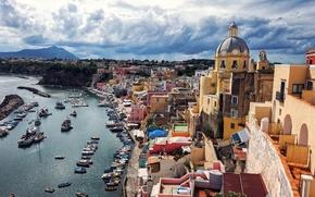 Картинка Procida Island, Коррицелла, остров Прочида, Corricella, Италия, Gulf of Naples, залив, порт, Неаполитанский залив, лодки, ...