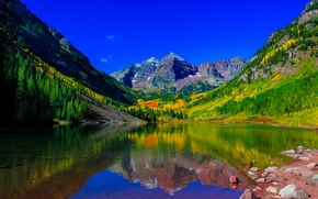 Картинка горы, озеро, отражение, вершины, Колорадо, Colorado, Скалистые горы, Maroon Lake, Maroon Bells, Rocky Mountains, Elk ...