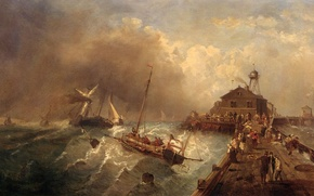Картинка море, волны, небо, тучи, шторм, пристань, картина, Charles Euphrasie