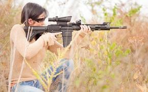 Картинка трава, девушка, снайпер, ремингтон