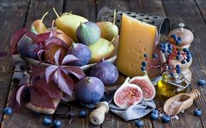 Картинка листья, ягоды, сыр, виноград, натюрморт, груши, голубика, инжир, фиги