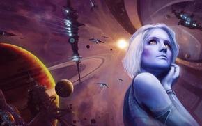 Картинка взгляд, девушка, звезда, планеты, корабли, станция, Космос, синяя кожа