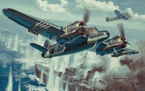 Картинка weapon, war, painting, drawing, ww2, dogfight, raf, british fighter, british aircraft, aviation art, armyart, beaufighter