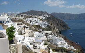Картинка небо, корабли, Санторини, Греция, Эгейское море, скалистый берег, белые домики