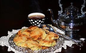 Картинка фон, чай, чайник, ложка, hot, выпечка, background, пирожки, tea, baking