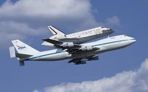 Картинка шаттл, Дискавери, самолёт, NASA, Discovery, Boeing 747