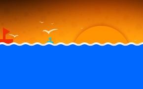 Картинка море, волны, небо, солнце, пейзаж, птицы, кораблик