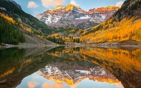 Картинка осень, лес, отражения, озеро, Колорадо, США, скалистые горы, штат, Maroon Bells