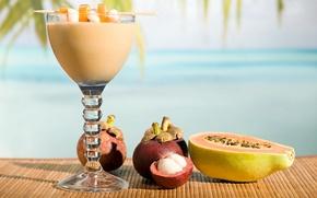 Обои макро, бокал, коктейль, напиток, фрукты, папайя, циновка, мангостин