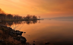 Картинка осень, небо, деревья, закат, озеро, камни, мостик