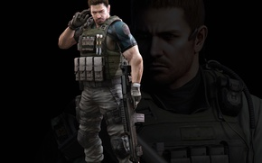 Картинка gun, resident evil, biohazard, soldier, weapon, rifle, resident evil 6, chris redfield, bulletproof vest, bsaa, …