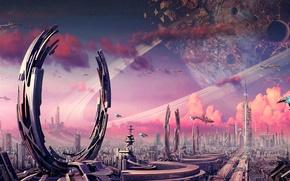 Картинка город, камни, фантастика, транспорт, планета, корабли, кольца, арт, сооружения, кратер