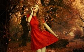 Картинка осень, листья, девушка, деревья, лицо, волосы, макияж, красное платье, кудри, красные губы