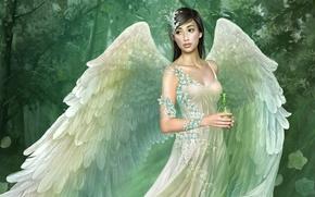 Картинка белый, девушка, крылья, ангел, платье, Tang Yuehui