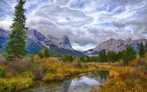 Картинка осень, лес, небо, облака, деревья, горы, озеро, река, кусты