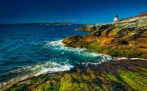 Картинка побережье, маяк, Англия, England, Уэльс, Wales, Ньюпорт, Бристольский залив, Newport
