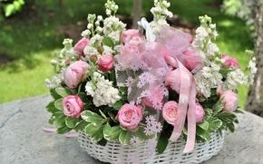 Картинка love, flower, nature, flowers, gift, basket