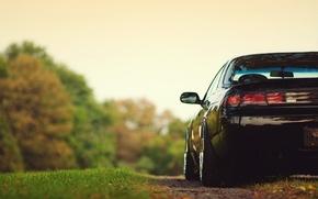 Картинка трава, деревья, Nissan, silvia