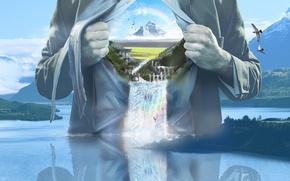 Картинка водопад, радуга, Человек