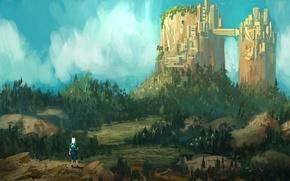 Картинка лес, арт, время приключений, Adventure time, парнишка, город-гора, Finn