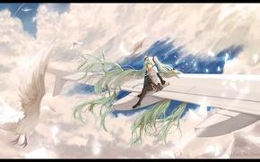 Обои небо, девушка, облака, птицы, самолет, аниме, арт, vocaloid, hatsune miku, hews