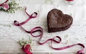 Обои торт, food, cake, десерт, сердце, dessert, сладкое, ribbon, ленты, love, праздники, любовь, holidays, еда, пирожное, ...