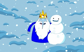 Картинка персонаж, Adventure Time, Время приключений, Снежный король, The Ice King, снег. снеговик