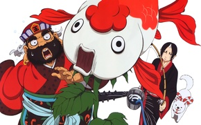 Картинка удивление, собака, демон, ведро, art, удочка, shiro, hoozuki, natsumi eguchi, hoozuki no reitetsu, раба, enma …