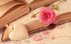 Картинка i love you, книги, petals, сердце, любовь, books, цветок, romantic, pink, роза, лепестки, flower, love, ...