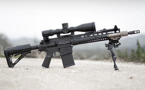 Картинка оружие, фонарик, оптика, винтовка, карабин, штурмовая, сошка, Larue Tactical, полуавтоматическая